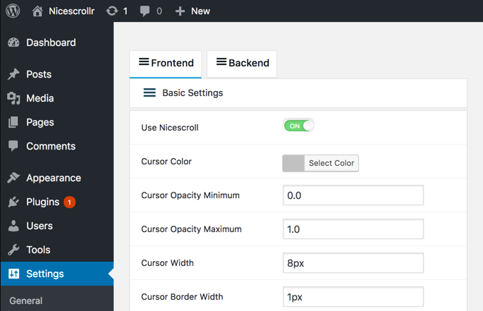 Nicescrollr plugin settings for creating back to top button for WordPress website