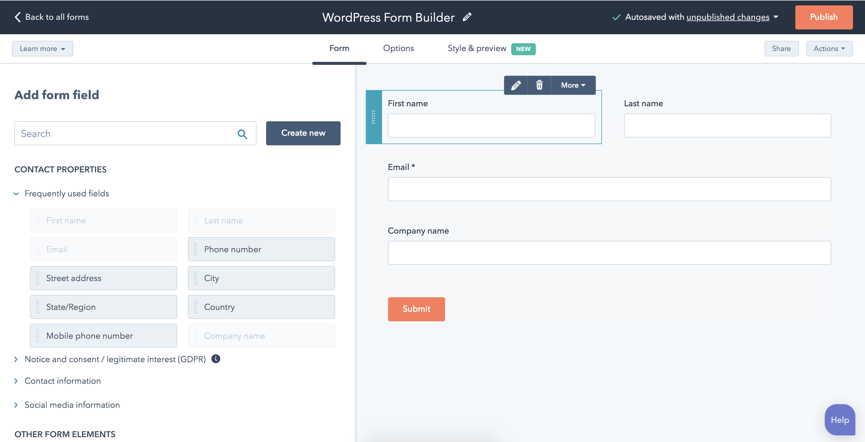 WordPress Contact Management (CRM), Forms, Live Chat, Email