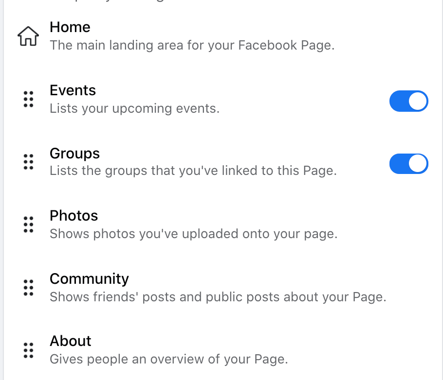 The Settings page where you can rearrange the tabs on your Facebook business page