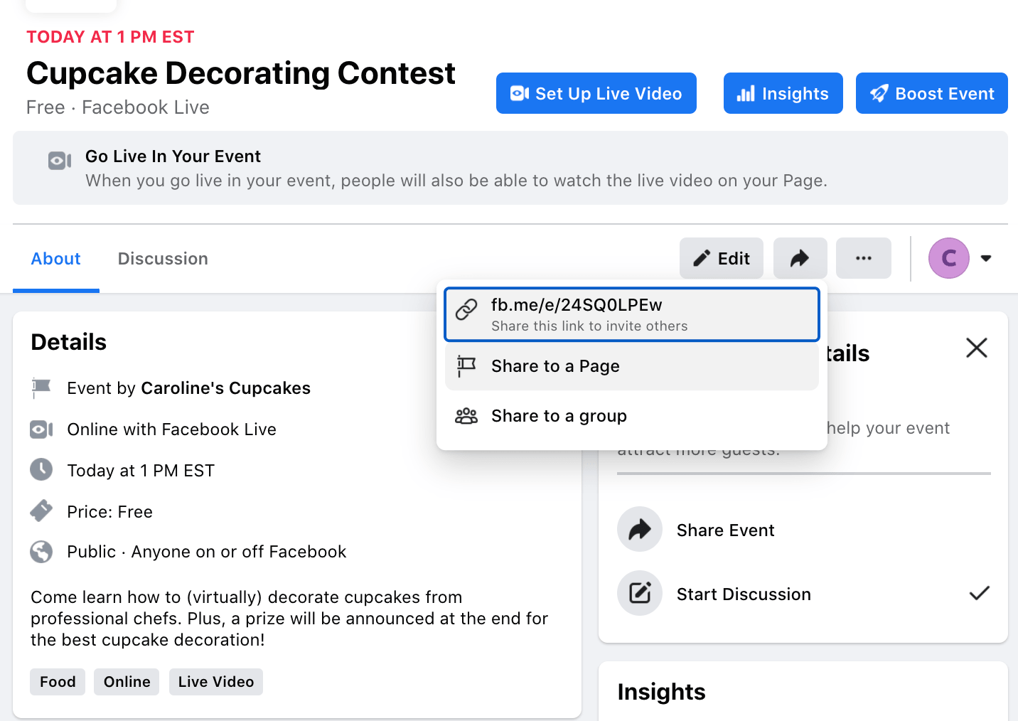 The Share button on your Cupcake Decorating Content where you can copy a link to share with others off Facebook
