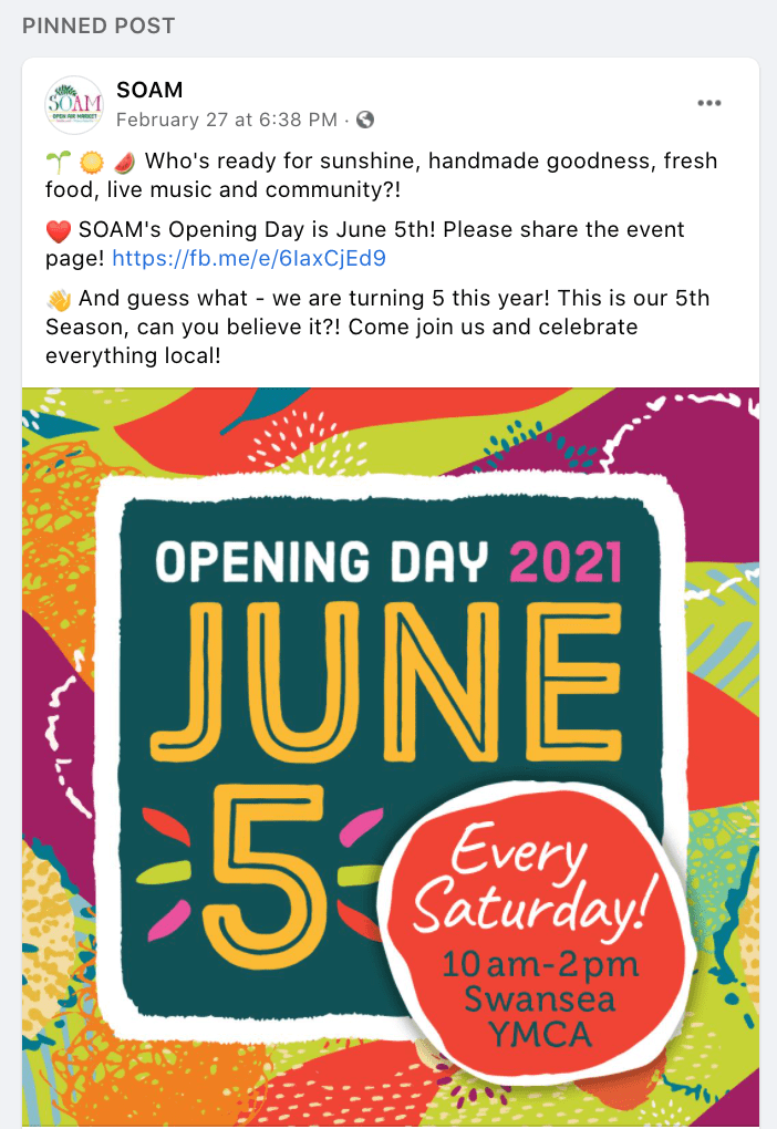 SOAM event posting on Facebook