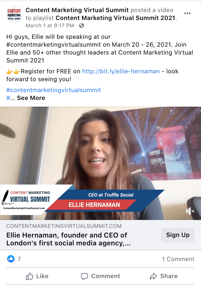 Content Marketing Virtual Summit's Facebook video highlighting Ellie, a speaker for their Content Marketing Virtual Summit