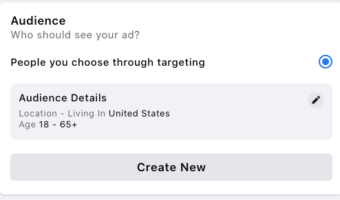 The Audience section of a form when you're filling out an ad on Facebook