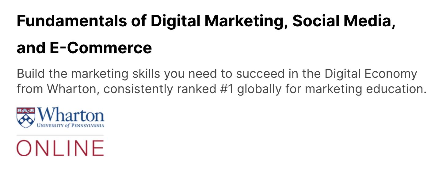 Fundamentals of Digital Marketing, Social Media, and E-Commerce wharton university of pennsylvania social media marketing course