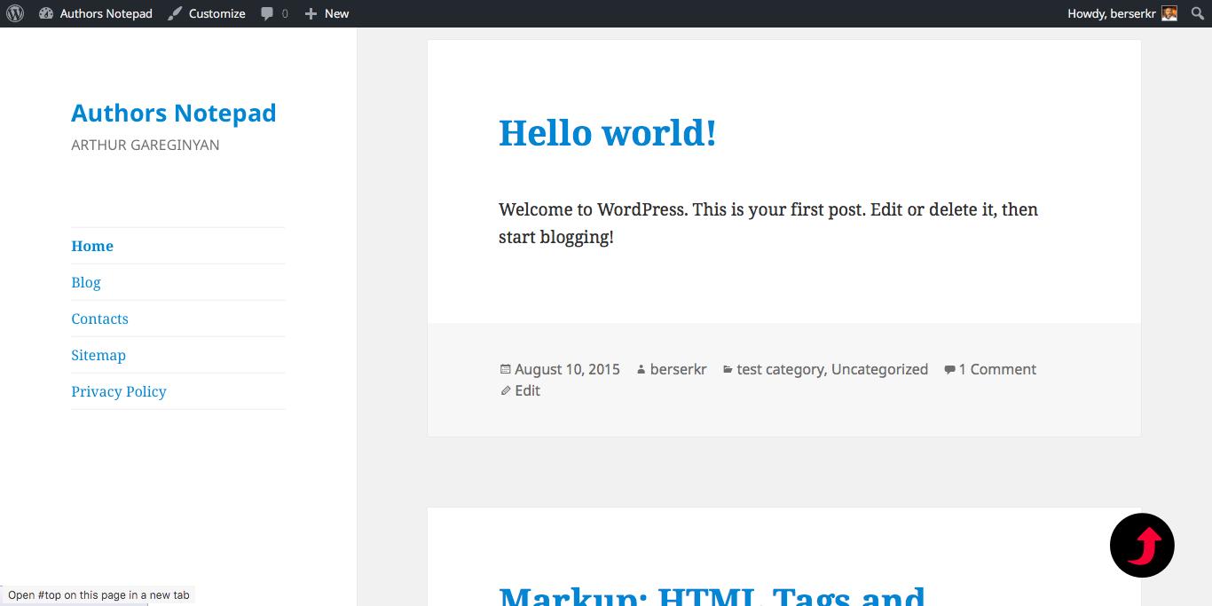 Simple Scroll to Top Button plugin demo for WordPress