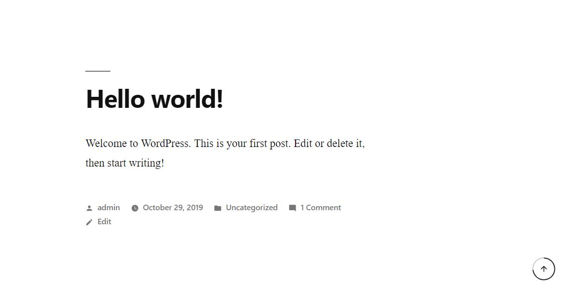 Smooth Back To Top Button plugin demo in WordPress Gutenberg editor