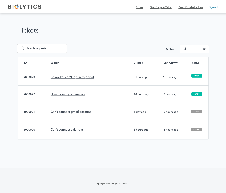 Ticket index page