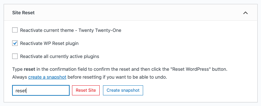 Type reset into Site Reset section of WP Reset plugin
