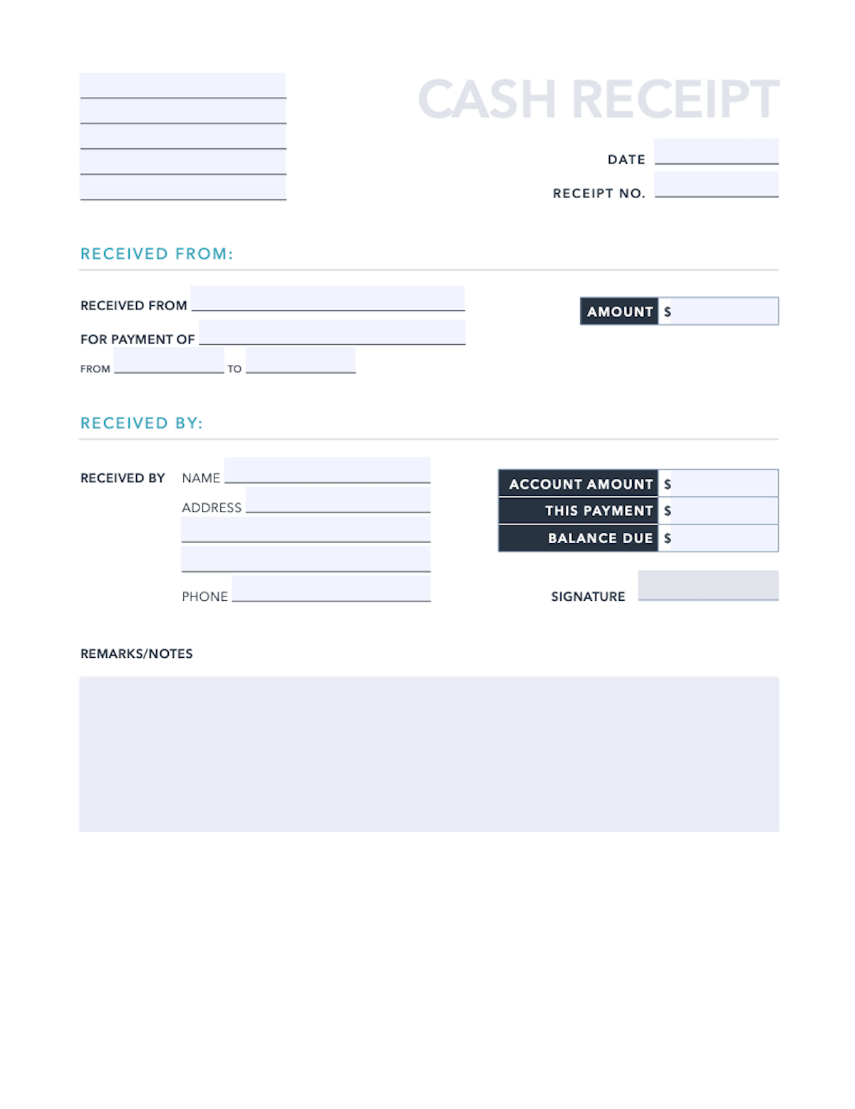Free Cash Receipt Template For Pdf Excel Hubspot