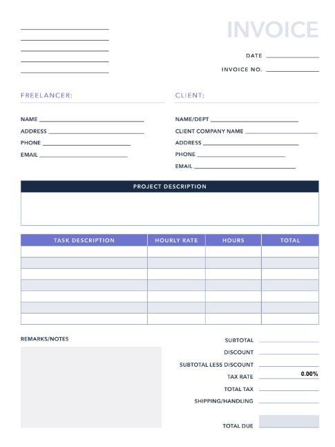 Free Freelance Invoice Template For Pdf Excel Hubspot