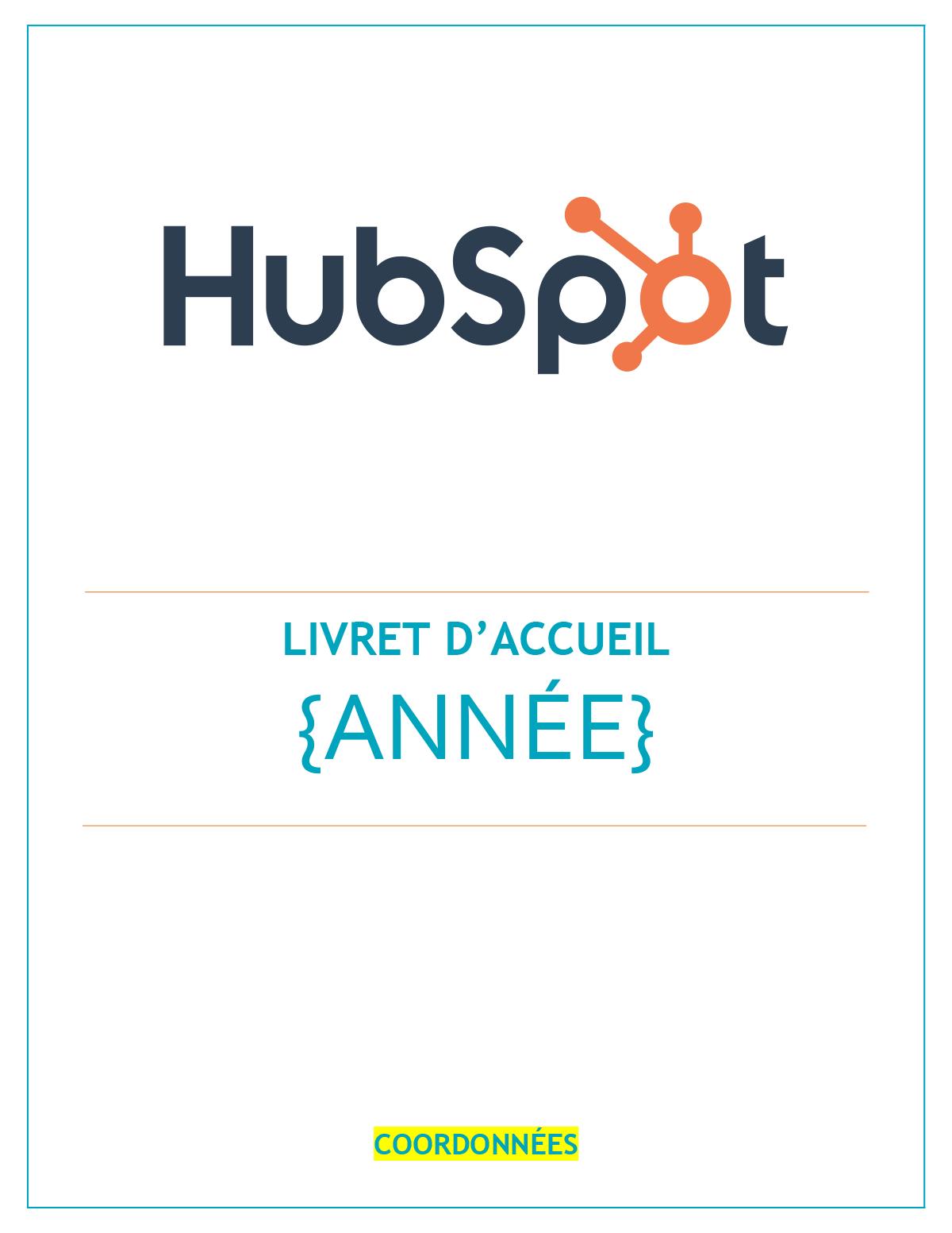 Livret d'accueil  modèle gratuit sous PDF   Word   HubSpot