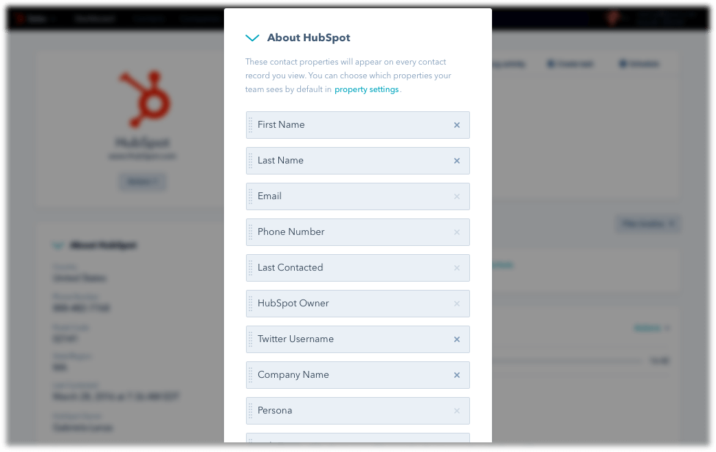 HubSpot CRM - edit and update contact details in one place