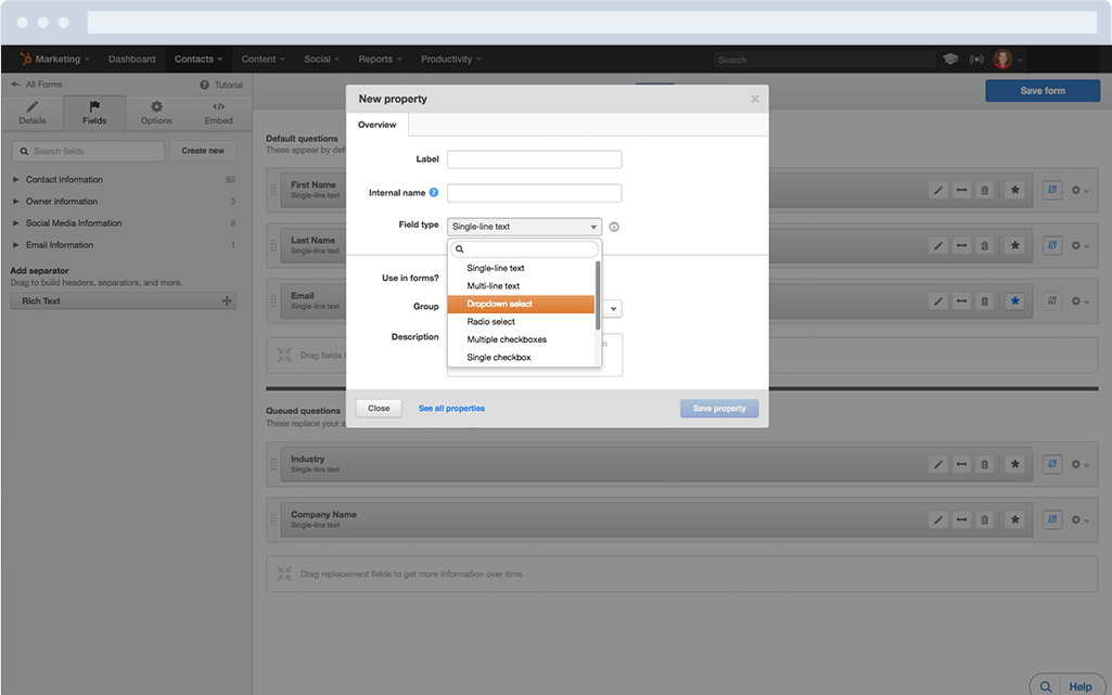 HubSpot Forms - Easily create custom forms in seconds