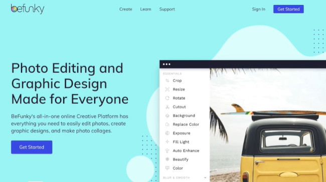 befunky as an online design tool for photo editing and graphic creation