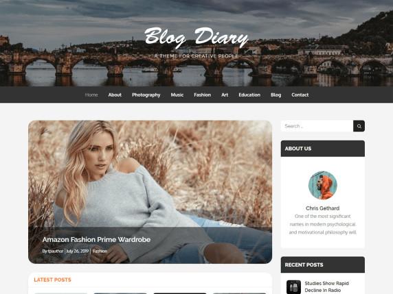 blog diary free wordpress theme