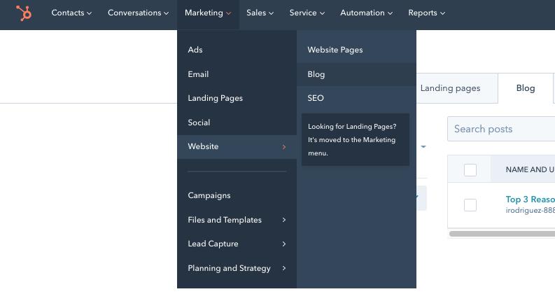"Drop-down menu in CMS Hub leading toward the ""Blog"" option"