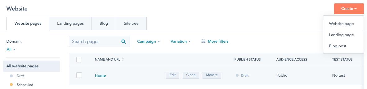 Creating a page inside CMS Hub