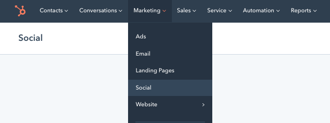 Drop-down menu in CMS Hub leading to social media management tool