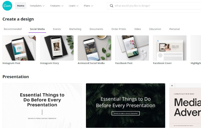 canva as a free online design tool with templates and editing capabilities