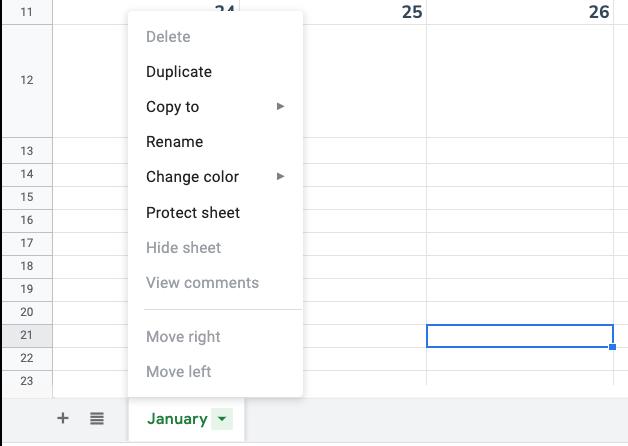 Duplicate tab option in Google Sheets