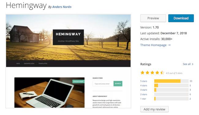 hemingway wordpress theme free