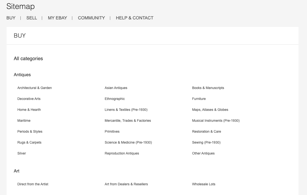 HTML sitemap example from Ebay showing its site structure