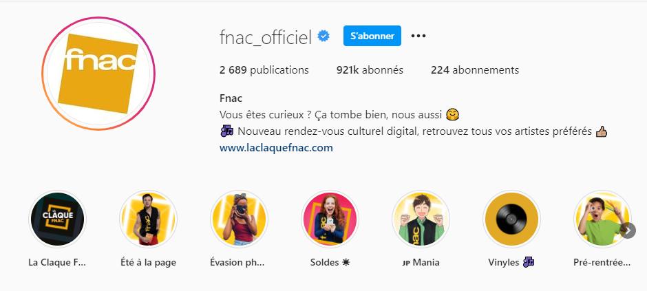 compte instagram de la fnac