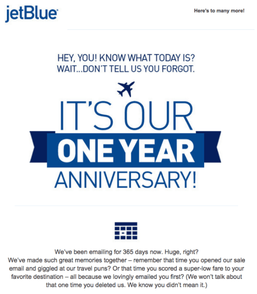 jetblue re-engagement email as an example of internet marketing