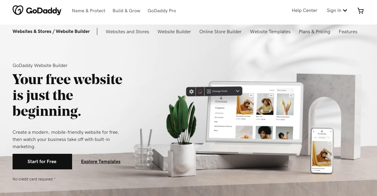 landing page of GoDaddy website builder