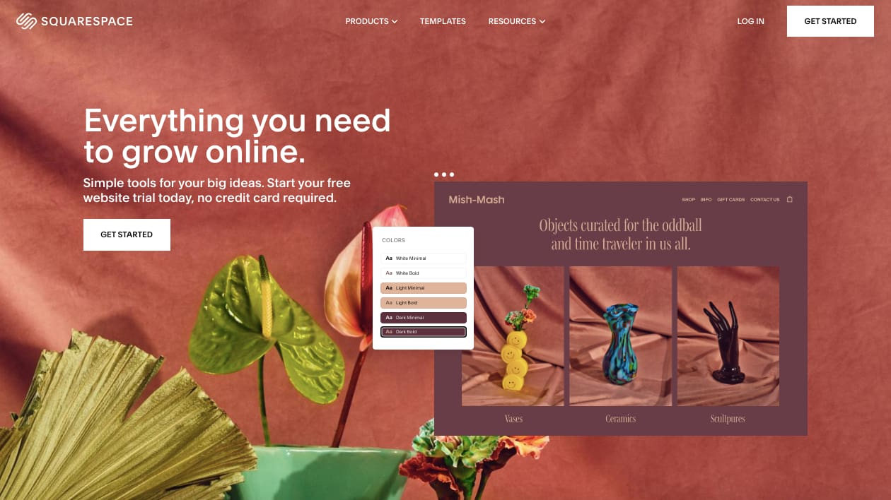 landing page of website builder  Squarespace