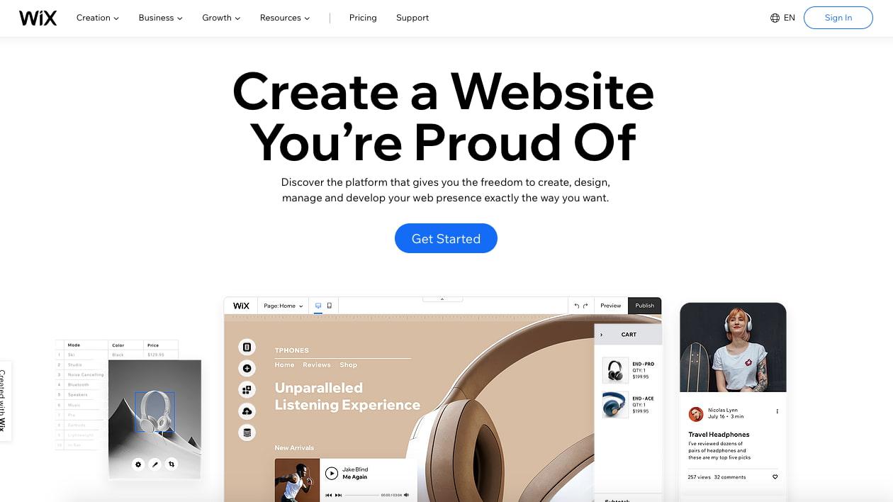 landing page of website builder  wix