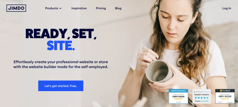 landing page of website builder Jimdo