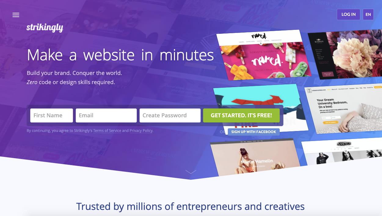 landing page of website builder Strikingly