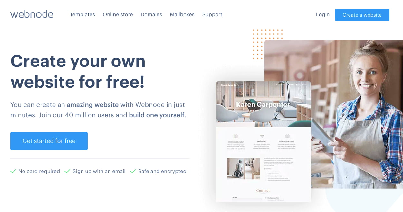 landing page of website builder WebNode