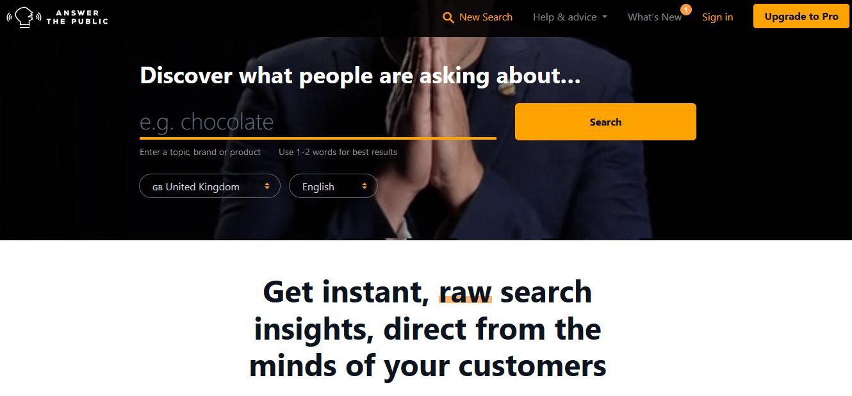 Programas de marketing de contenidos: Answer the Public