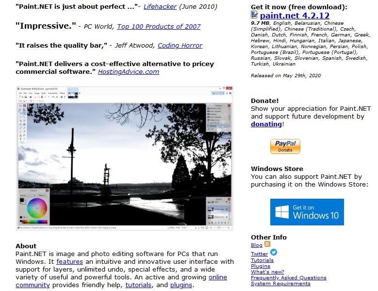 Programas de marketing de contenidos: Paint.net