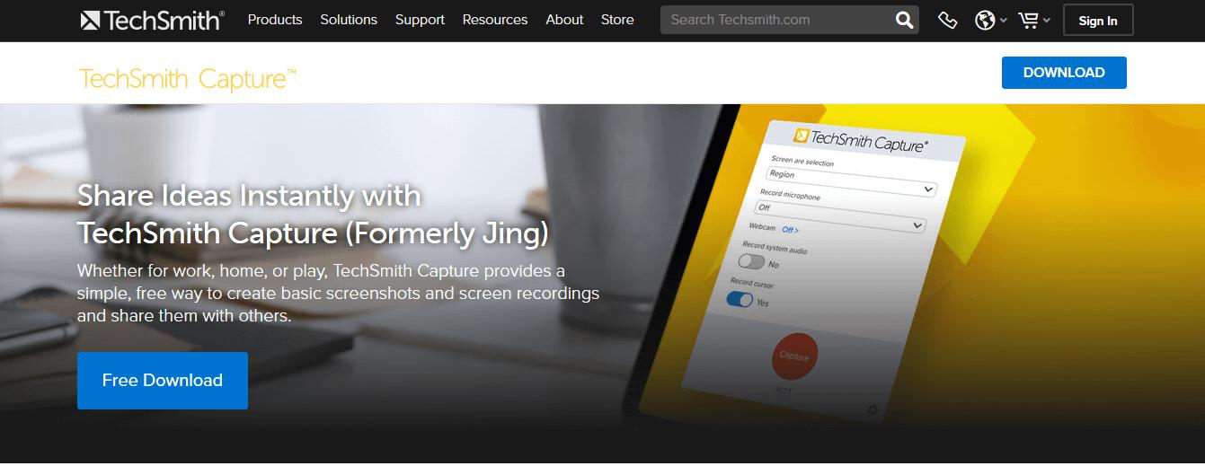 Programas de marketing de contenidos: TechSmith Capture