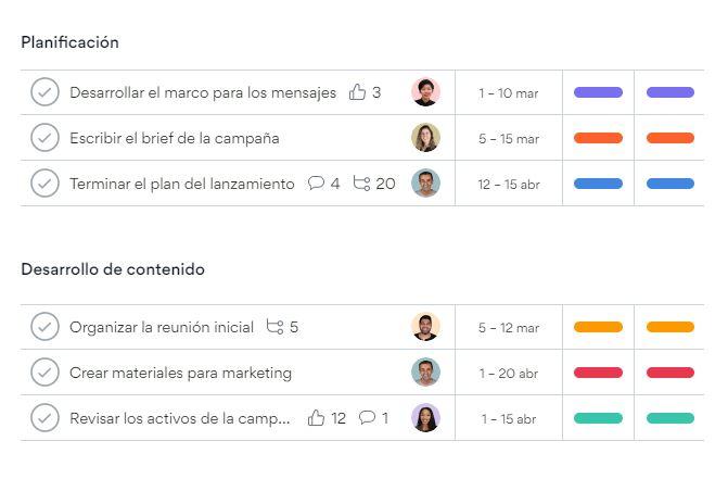 App para administrar negocios: Asana