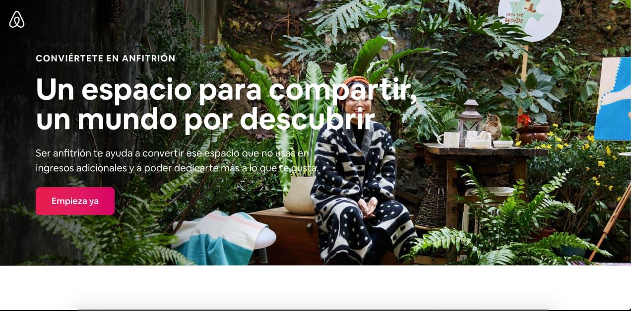 Ejemplo de una gran landing page: Airbnb
