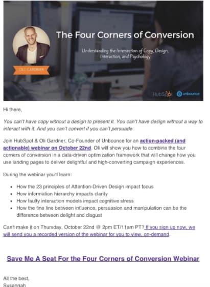 Cómo promocionar co-marketing: ejemplo de HubSpot