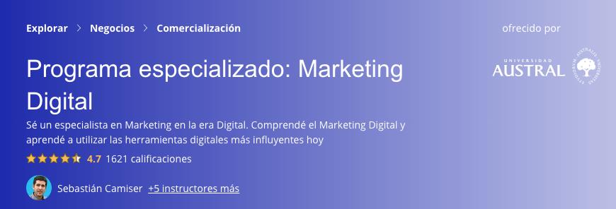 Programa especializado: Marketing Digital de Coursera