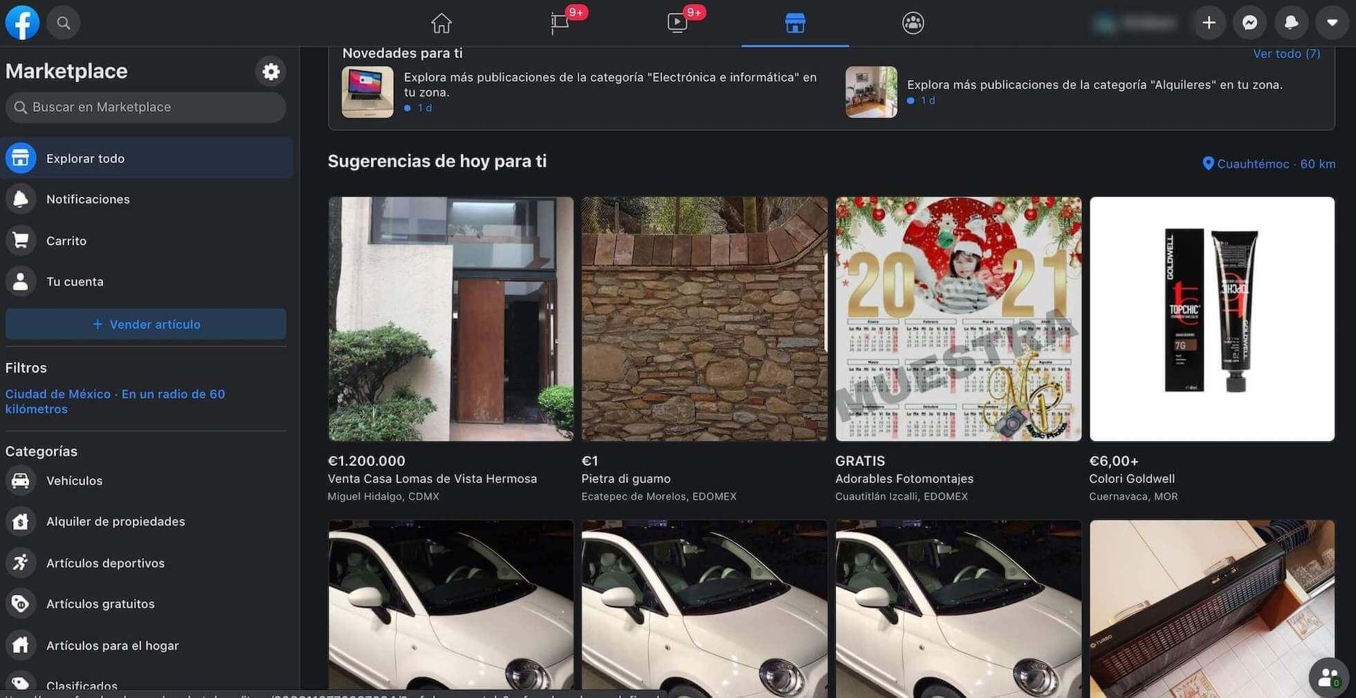 Ejemplo de publicidad C2C: Marketplace de Facebook