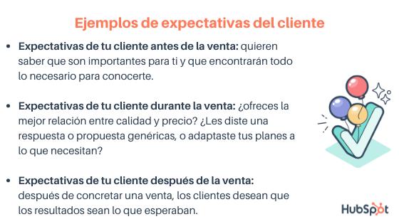 Ejemplos de expectativas del cliente