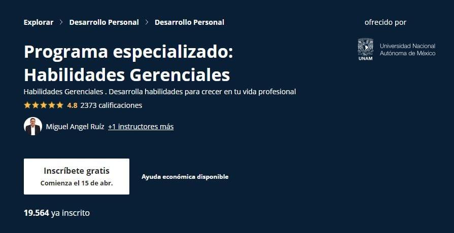 Curso de habilidades gerenciales de UNAM y Coursera