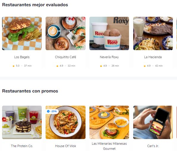 Ventas por internet: alimentos