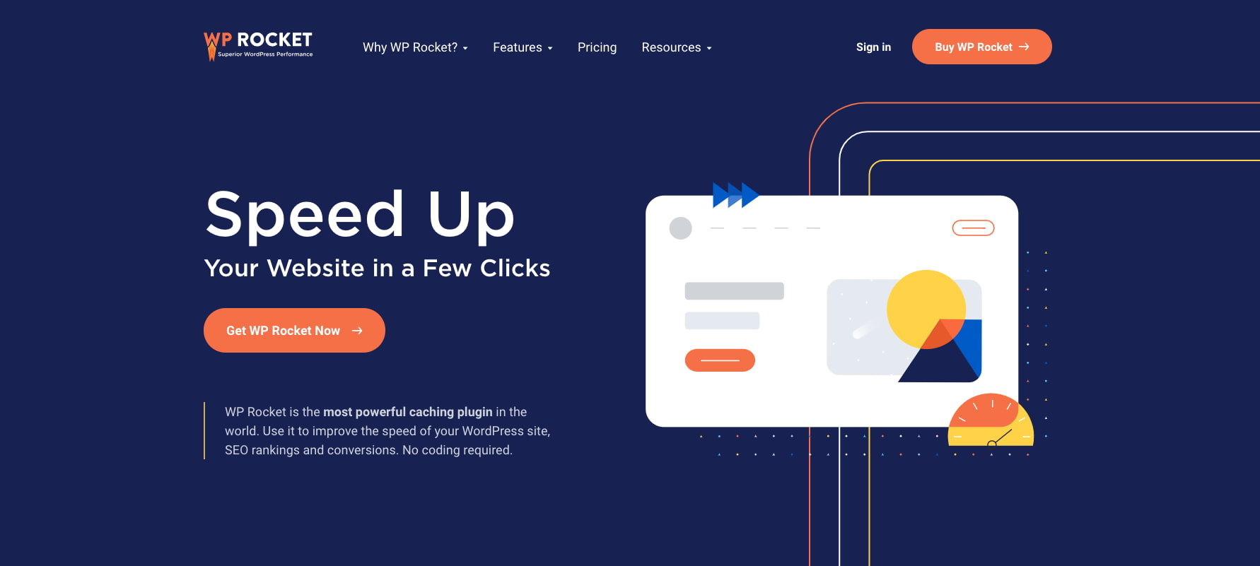 product page for the WordPress plugin wp rocket