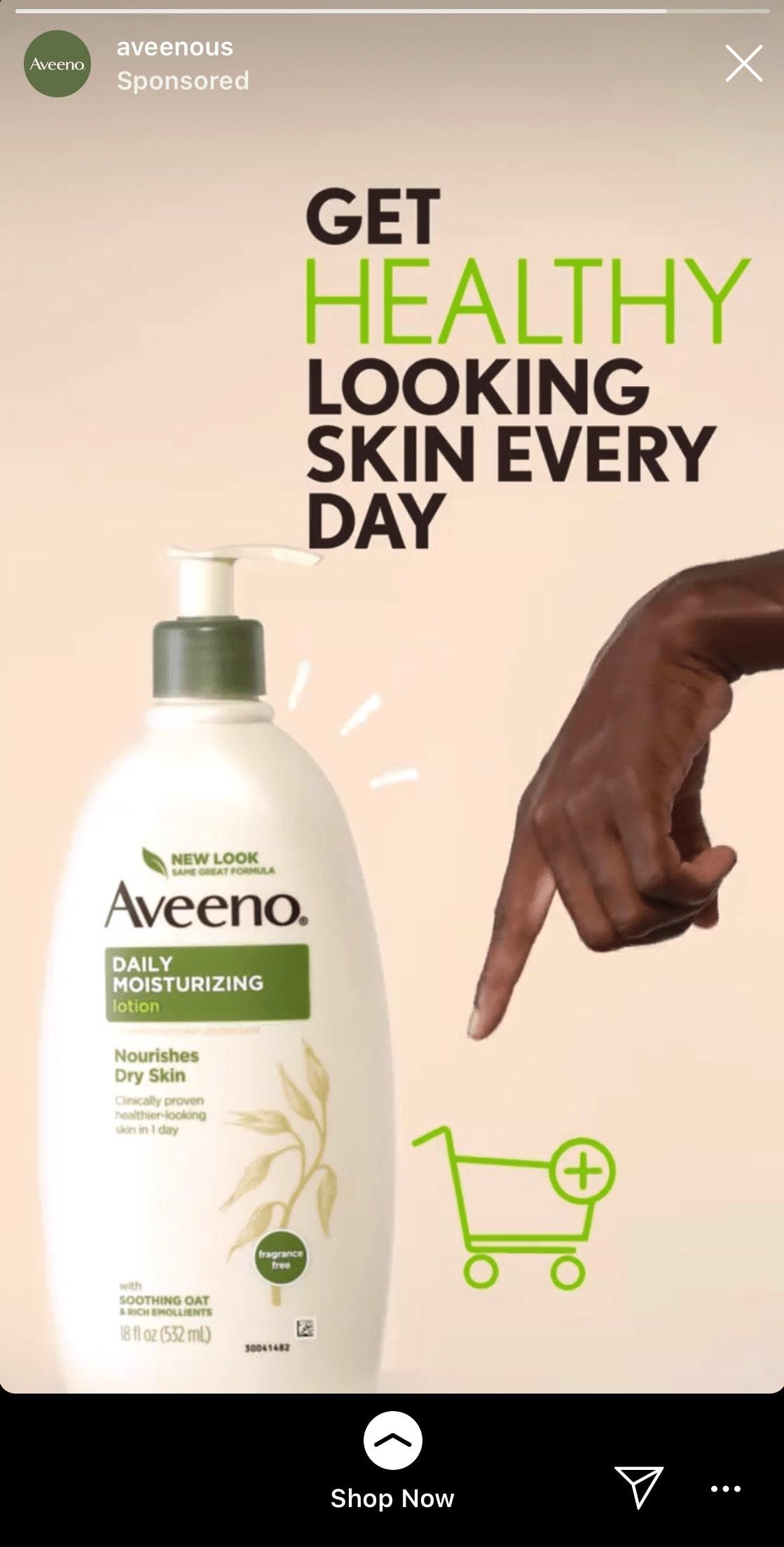 Aveeno Instagram Story ad example