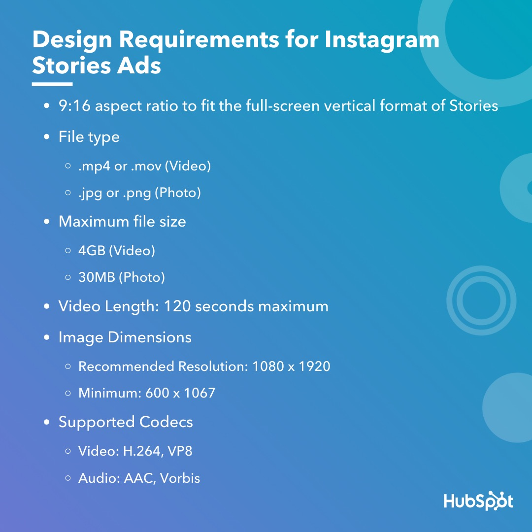 Design requirements for instagram story ads.