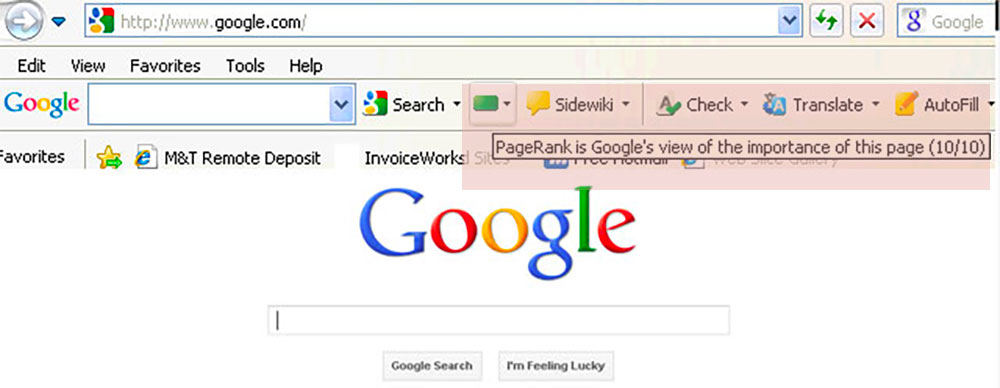 The PageRank toolbar
