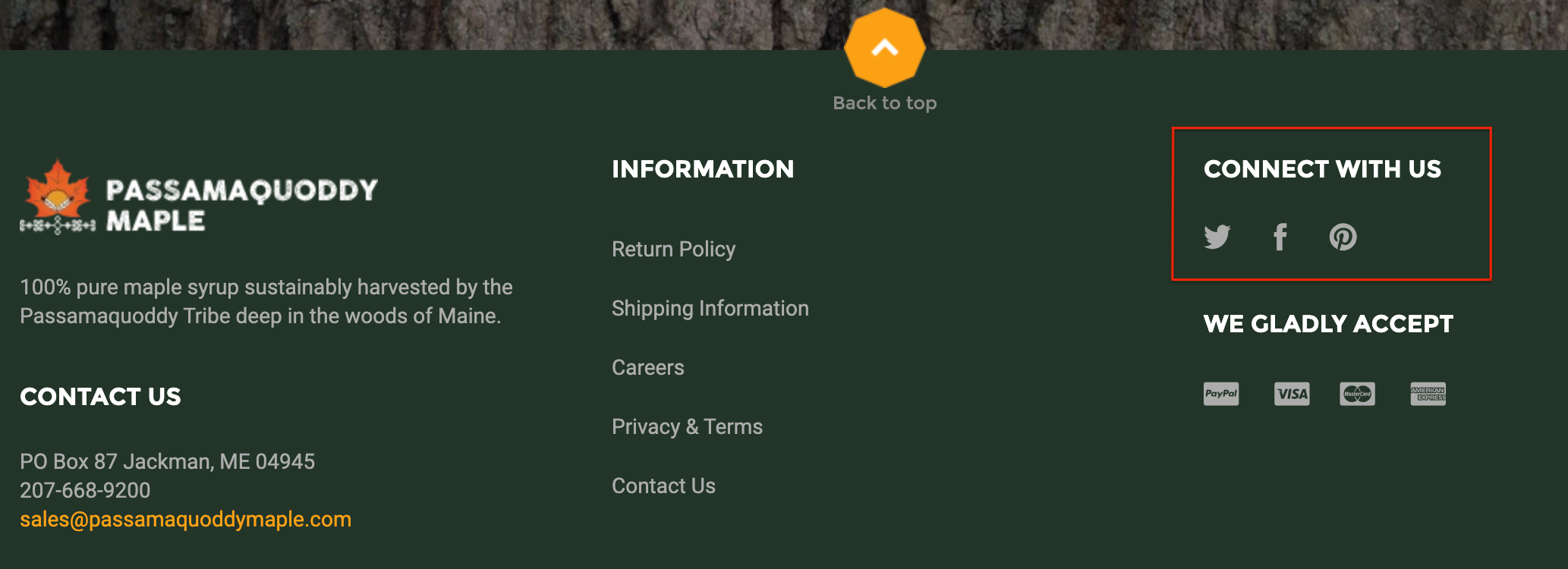 """""""Connect With Us"""" brand example"""